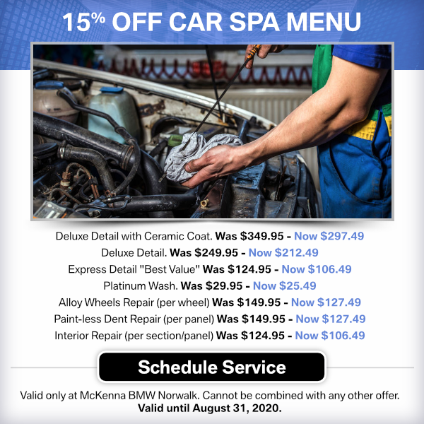 15% OFF Car Spa Menu at Mckenna BMW in Norwalk, CA