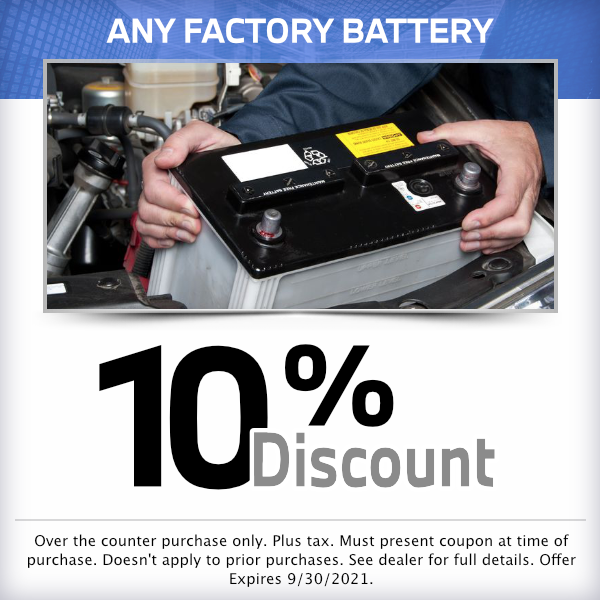 10% discount on any factory battery