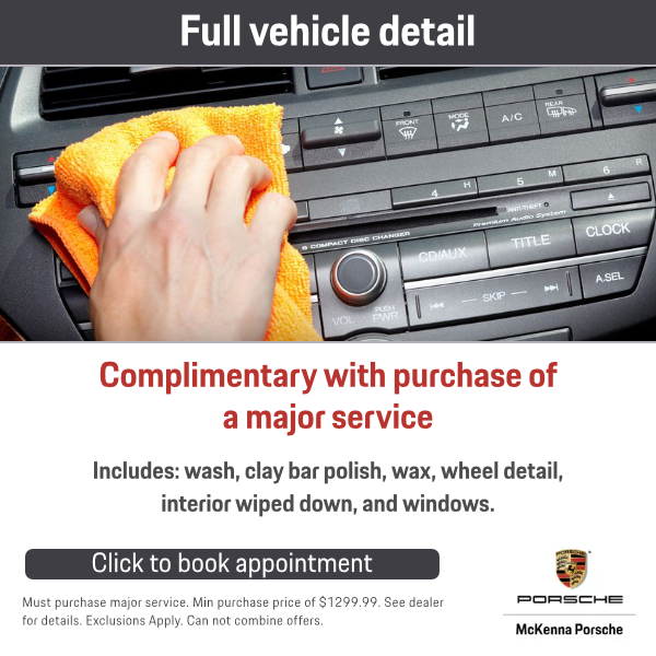 Complimentary full vehicle detail with purchase of a major service