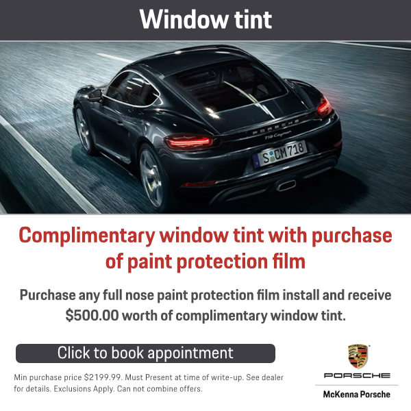 Complimentary window tint with purchase of Paint Protection film