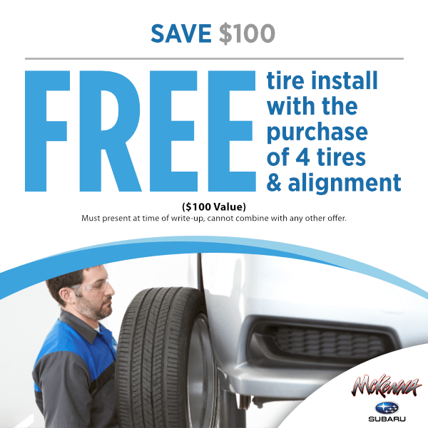 Save $100.00 - Free Tire Install with The Purchase of 4 Tires & Alignment