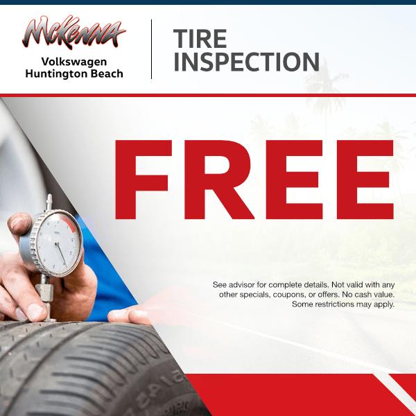 $Free tire inspectionat Mckenna Volkswagen Huntington Beach