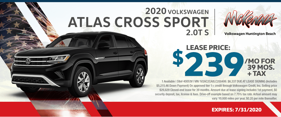 2020 VW Atlas Cross Sport 2.0T S Lease Special in Huntington Beach, CA