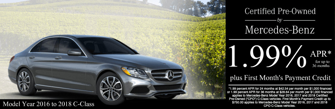 Save on a 2016 to 2018 C-Class at Mercedes-Benz of Temecula in Temecula, CA
