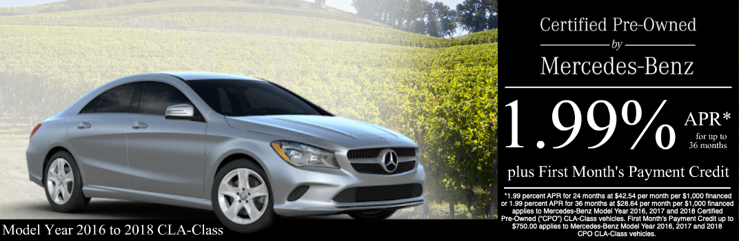 Save on a 2016 to 2018 CLA-Class at Mercedes-Benz of Temecula in Temecula, CA