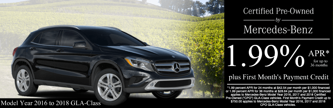 Save on a 2016 to 2018 GLA-Class at Mercedes-Benz of Temecula in Temecula, CA