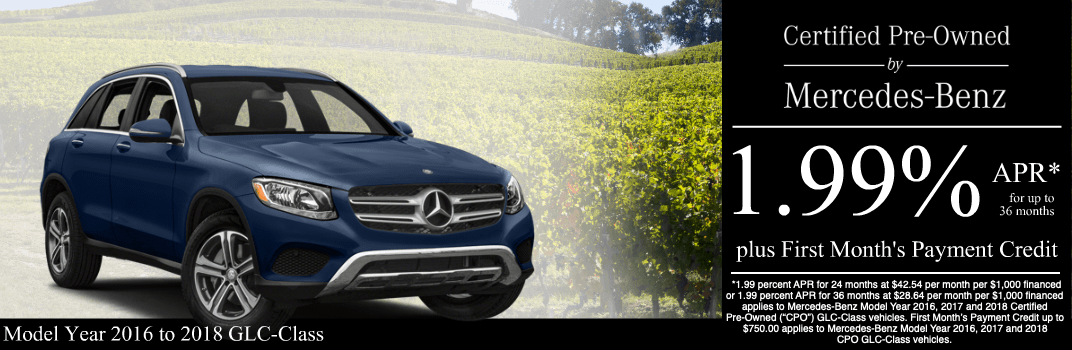 Save on a 2016 to 2018 GLC-Class at Mercedes-Benz of Temecula in Temecula, CA