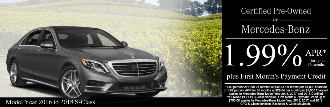 Save on a 2016 to 2018 S-Class at Mercedes-Benz of Temecula in Temecula, CA