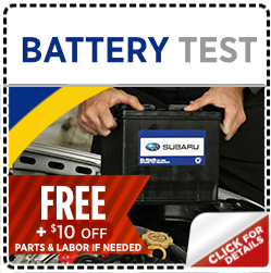 Click and save with this special Subaru service offer on a FREE battery test service in Salt Lake City, UT