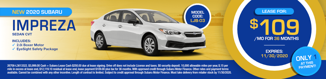 2020 Subaru Impreza Sedan Base CVT Lease Special in Shingle Springs, CA