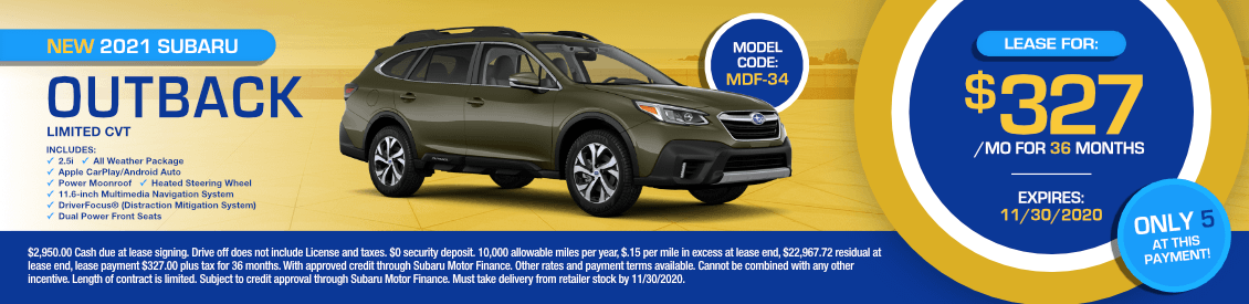 2021 Subaru Outback Limited Lease Special in Shingle Springs, CA