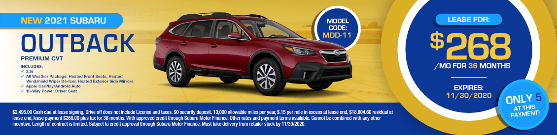 2021 Subaru Outback Premium Lease Special in Shingle Springs, CA