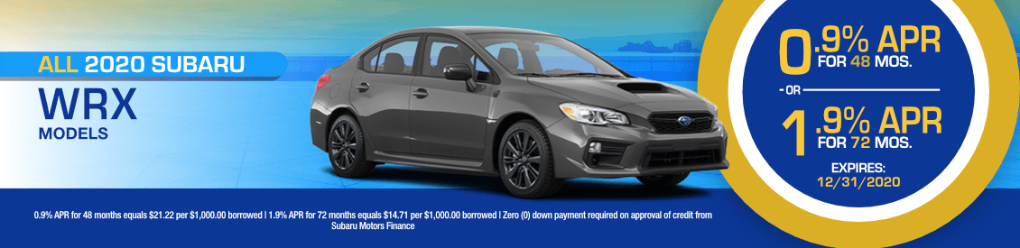 All 2020 Subaru WRX Models Financing Special in Shingle Springs, CA