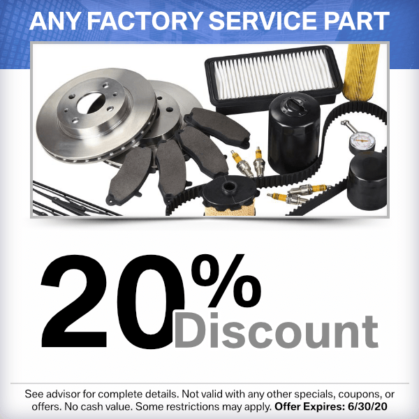 Factory service parts 20% discount from our parts department at our Torrance, CA location.