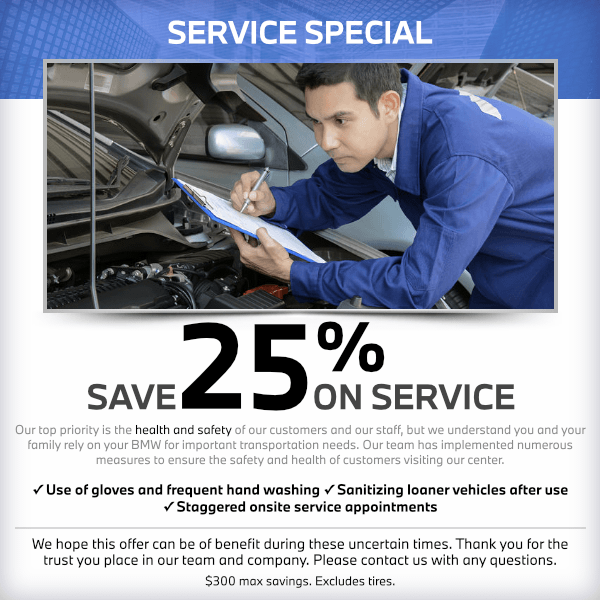 Save 25% on service at South Bay BMW