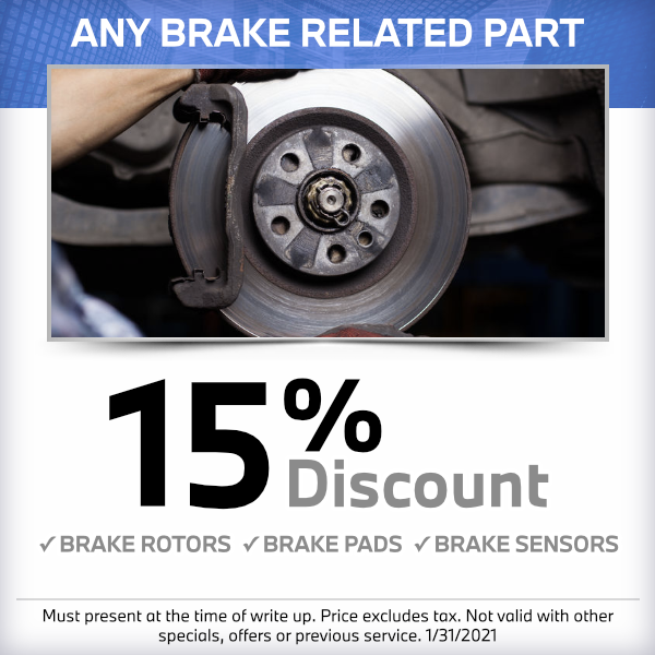 15% discount on any brake part at South Bay BMW