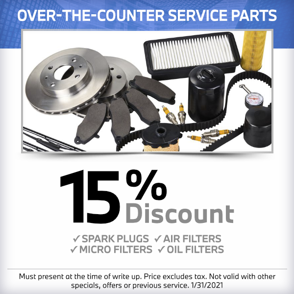 15% discount on over-the-counter service parts at South Bay BMW
