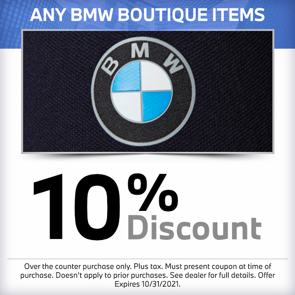 10% discount on any BMW Boutique itemsat South Bay BMW