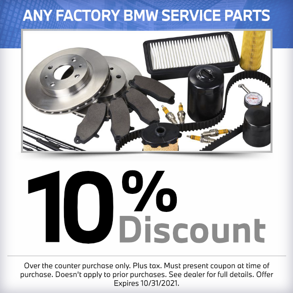 10% discount on any factory service partsSpecial at South Bay BMW