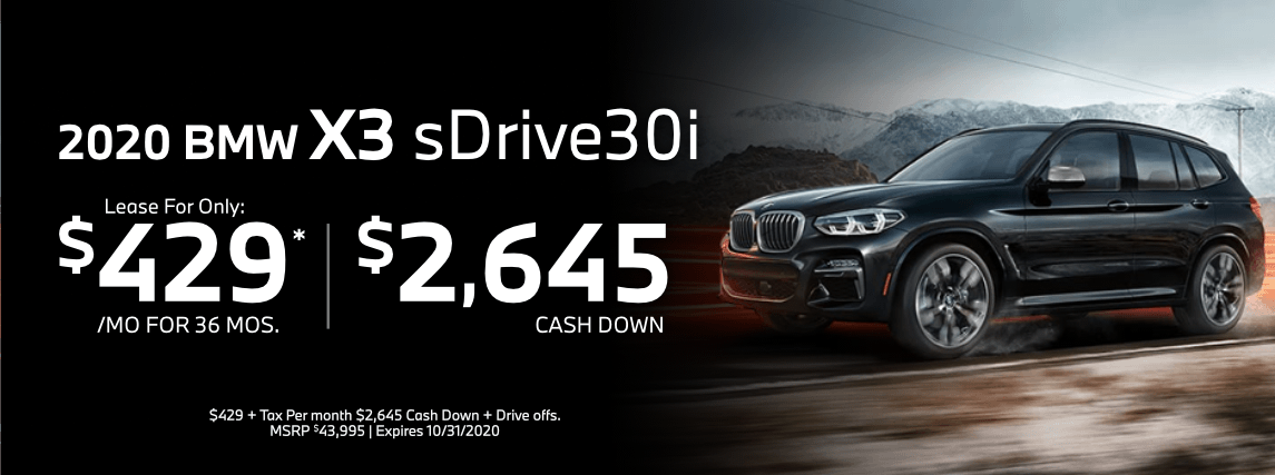 2020 BMW X3 sdrive30i Special Lease Savings in Torrance, CA