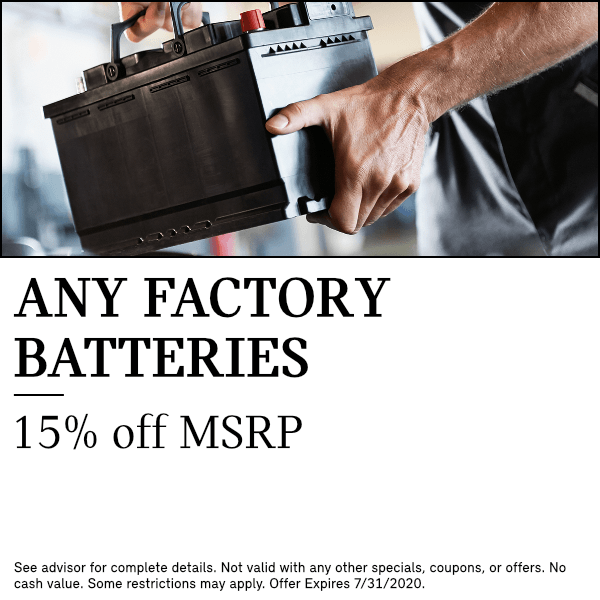 Any Factory Batteries15% off MSRPparts special at South Bay MINI in Torrance, CA