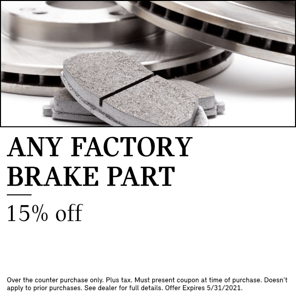 15% OFF MSRP on any factory brake part