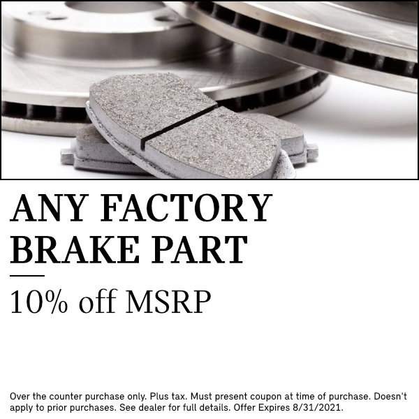10% off MSRP on any factory brake part