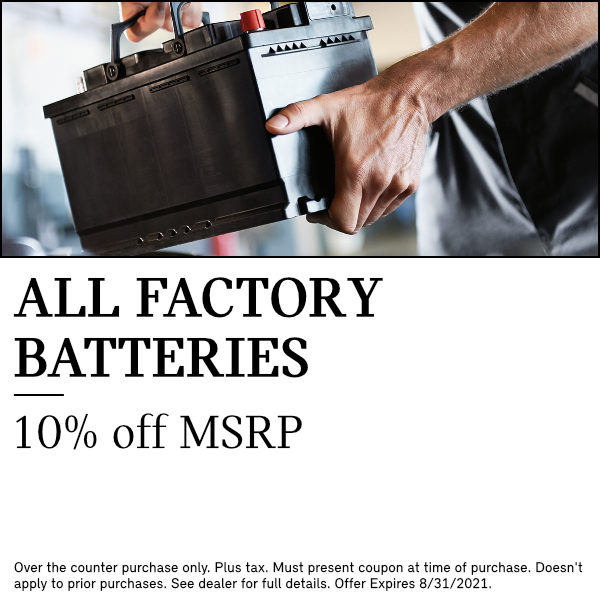 10% off MSRP on all factory batteries