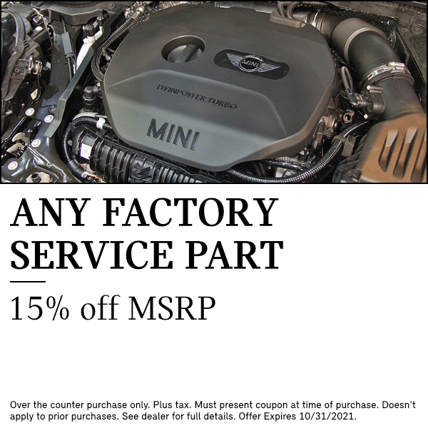 15% OFF MSRP on any factory service part