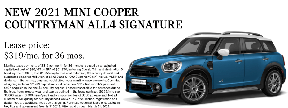 LEASE A 2021 MINI COOPER S COUNTRYMAN (Signature) in Torrance, CA