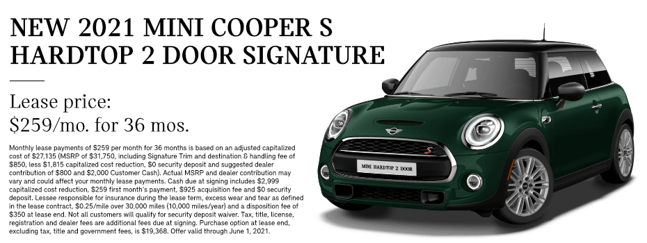 LEASE A 2021 MINI COOPER S HARDTOP 2 DOOR in Torrance, CA