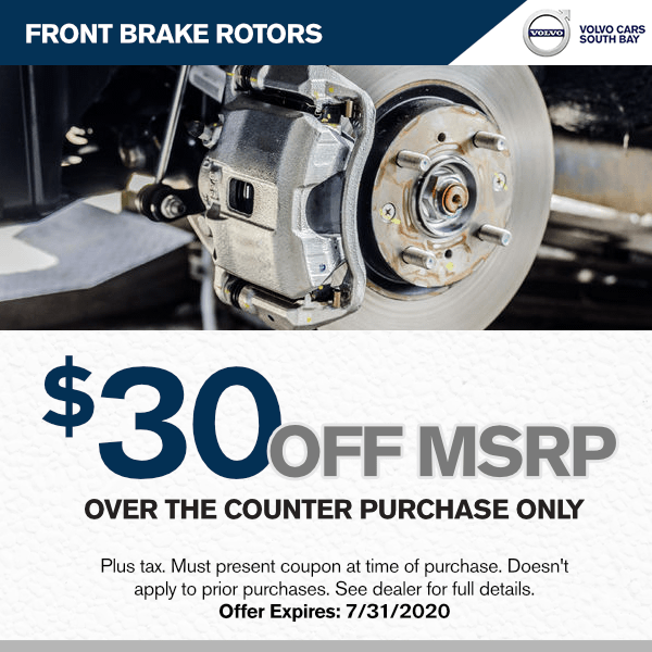 $30 off MSRP of Genuine Front Brake Rotors at Volvo Cars South Bay