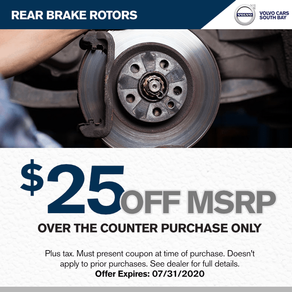 $25 off MSRP of Genuine Rear Brake Rotors at Volvo Cars South Bay