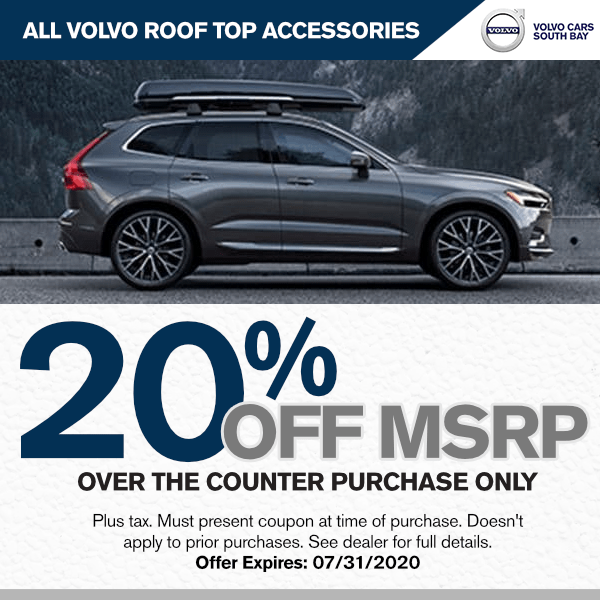 20% off MSRP of All Genuine Volvo Roof Top Accessories at Volvo Cars South Bay