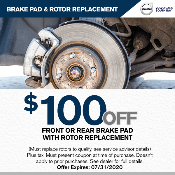 Brake special $100.00 off front or rear brakes with rotor replacement at Volvo Cars South Bay