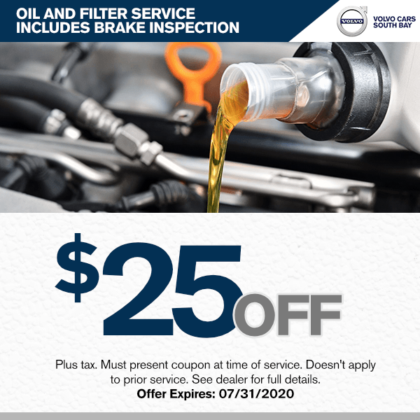 Oil change service, brake inspection at Volvo Cars South Bay