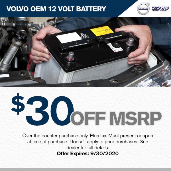 $30.00 off M.S.R.P. Volvo OEM 12 Volt Batteryat Volvo Cars South Bay