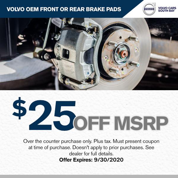 $25.00 off M.S.R.P Volvo OEM Front or rear brake padsat Volvo Cars South Bay