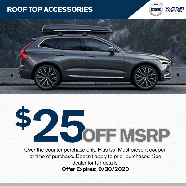 $25 off MSRP of All Genuine Volvo Roof Top Accessories at Volvo Cars South Bay