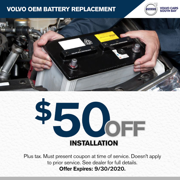 Volvo OEM Battery replacement $50.00 off installation