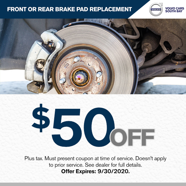 Front or rear brake pad replacement $50.00 off