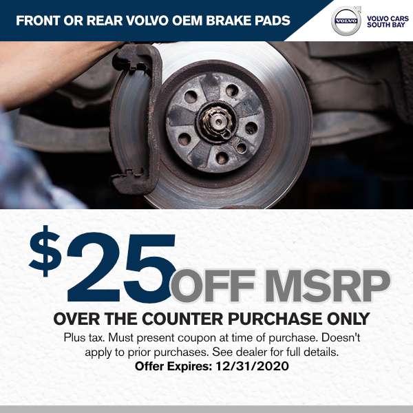Front or rear brake rotors $25 Off MSRP over the counter purchase onlyat Volvo Cars South Bay