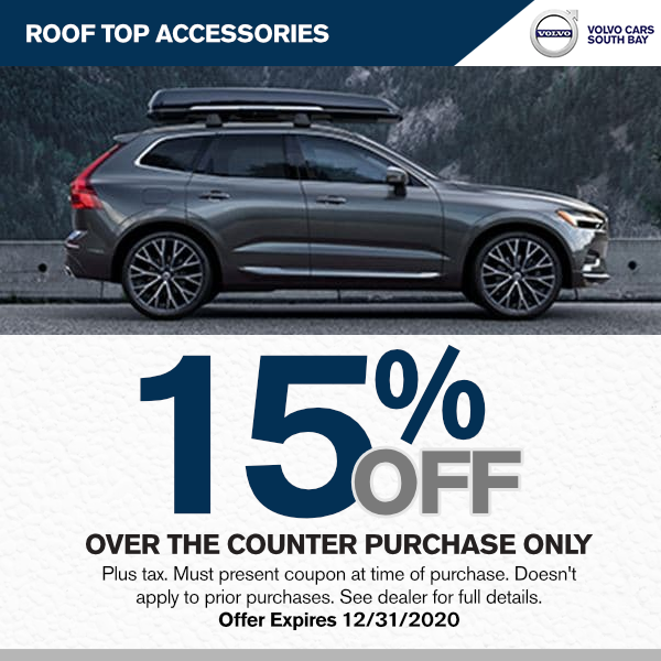 Roof top accessories 15% Off M.s.r.p. over the counter purchase only at Volvo Cars South Bay