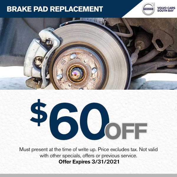 $60.00 off brake pad replacement