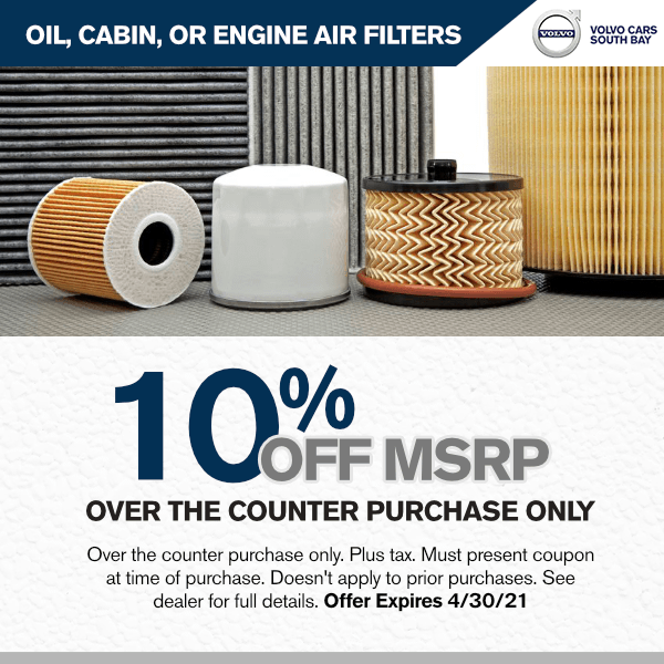 10% off  Oil, cabin, or engine air filters off M.S.R.P over the counter purchase onlyparts special in Torrance, CA