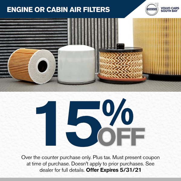15% off engine or cabin air filters