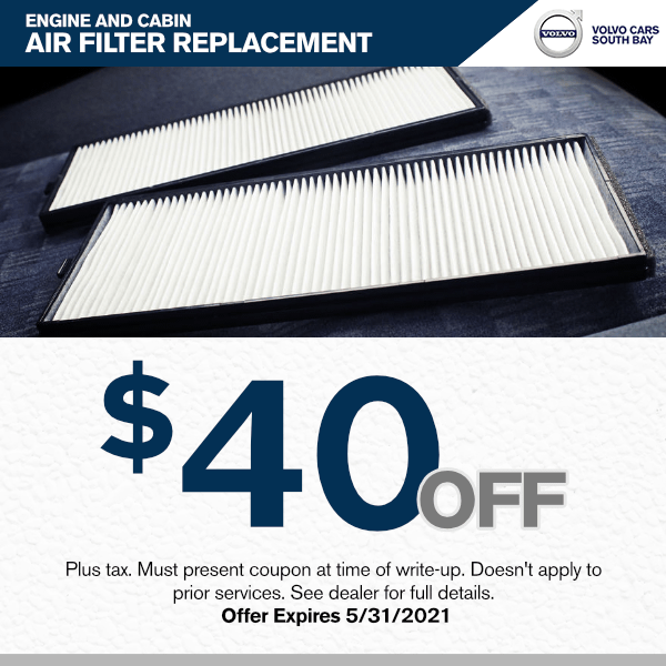 $40.00 off engine and cabin air filter replacement