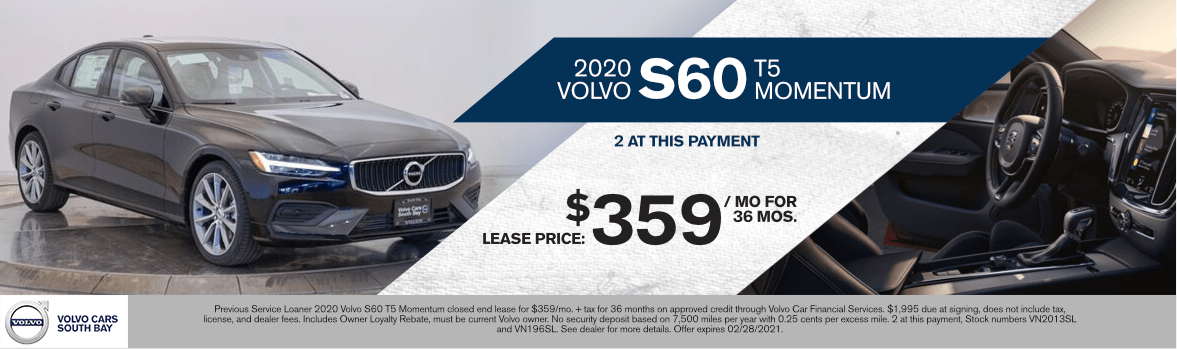 2020 Volvo S60 T5 Momentum Special Lease Savings in Torrance, CA