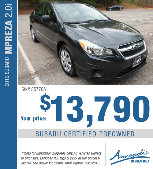 Save with this Annapolis, MD special on a Certified Pre-Owned 2012 Subaru Impreza 2.0i available at Annapolis Subaru