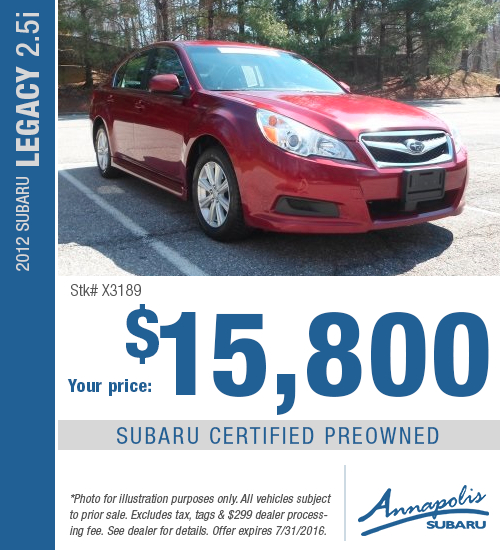 Save with this Annapolis, MD special on a Certified Pre-Owned 2012 Subaru Legacy 2.5i available at Annapolis Subaru